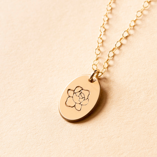 Peony Small Signet Necklace