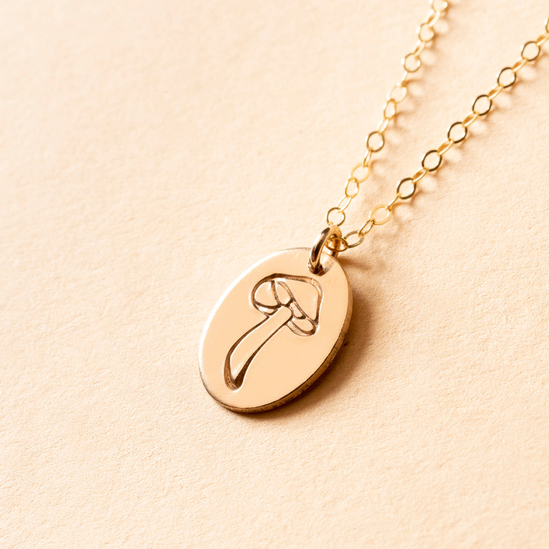 Forest Mushroom Small Signet Necklace