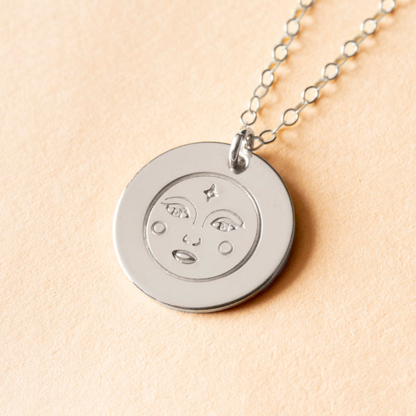 Moon Face Large Charm Necklace