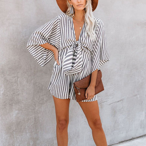 Maternity Striped V-neck Short Sleeve Loose Jumpsuit