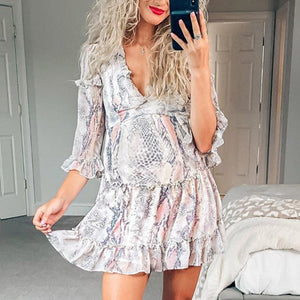 Maternity Fashion Casual v-nevk Floral long sleeve mini dress