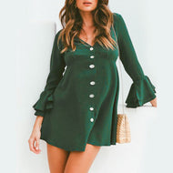 Maternity Ruffle Sleeve V-Neck Button Dress