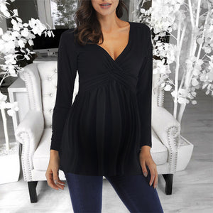 Maternity Casual Deep-V Neck Long Sleeve T-Shirt