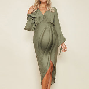 Maternity Stylish Solid Colour Split Dress