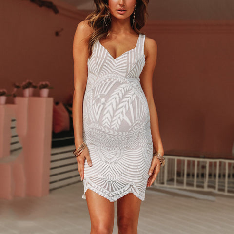 Maternity V-neck Lace Dress