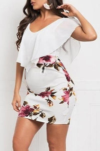 Maternity Flouncy Sleeves Bodycon Dress