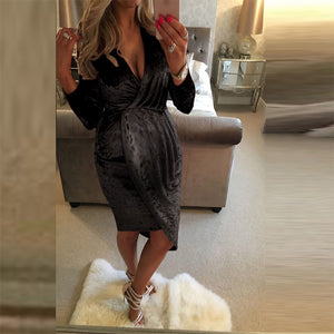 Maternity Sexy V-neck Solid Color Irregular Dress