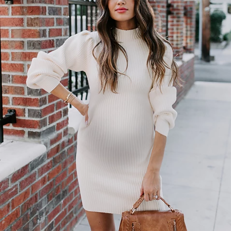 Maternity Casual Round Neck Lantern Sleeve Knit Dress