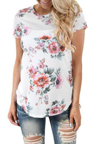 Maternity Round Collar T-Shirt In Floral Print