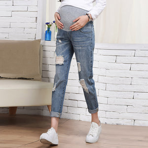 Maternity fashion fashion loose hole straight jeans