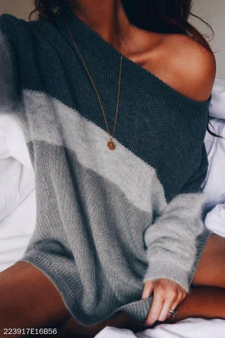 Scoop Neck  Color Block Sweaters