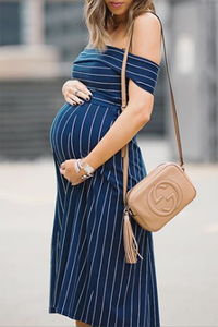 Maternity Stripe Off Shoulder Knee-Length Dress
