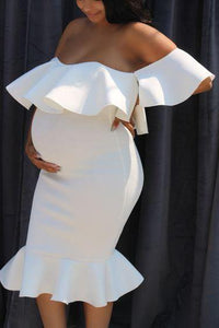 Maternity Off Shoulder Flounced Sexy Bodycon Dress