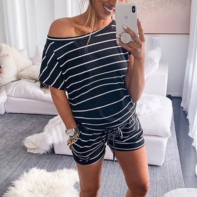 Maternity One Shoulder Stripe Jumpsuit