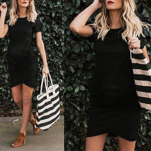 Maternity Round Neck Short Sleeve Pleated Bodycon Dress
