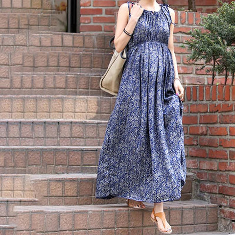 Maternity Sleeveless Floral Wavy Maxi Dress