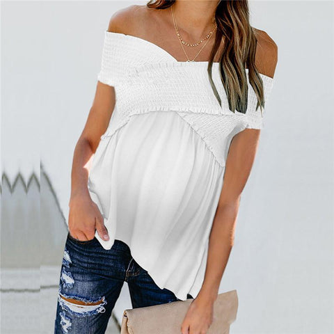 Maternity Smocked Off Shoulder Ruffled Short-Sleeved T-Shirt