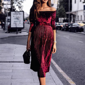 Maternity One-Shouldered Long-Sleeved Pleated Dress