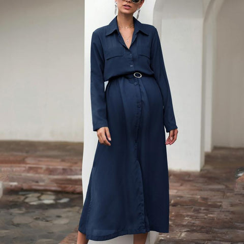 Maternity Solid Color Button Lapels Long Sleeve Dress