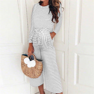 Maternity Round Neck Striped Long Sleeve Jumpsuit