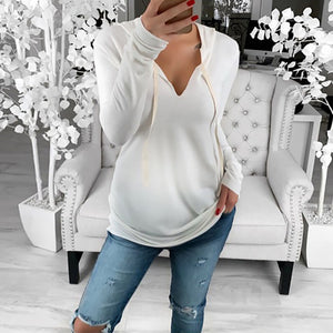 Maternity Casual Hooded Pure Colour Long Sleeve T-Shirt