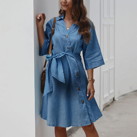 Maternity Casual Pure Color Halflong Sleeve Belted Single-Breasted Dress