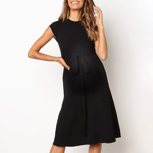 Maternity Casual Round Neck Sleeveless Pure Colour Belted Dress