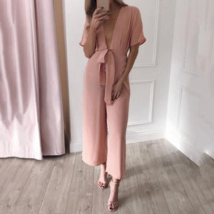 Maternity Deep V-Neck Short Sleeve Jumpsuit