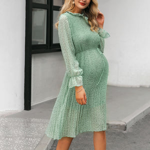 Maternity Green Polka Dot Dress
