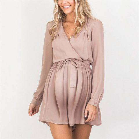 Maternity Fashion V Neck Long Sleeve Dress