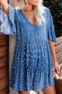 Maternity Casual V Neck Dots Layered Skirt