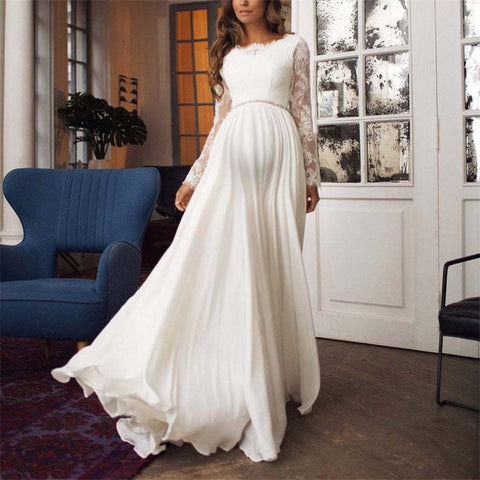 Maternity Round neck long sleeve backless dress