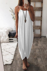 Maternity Plain Spaghetti Strap Asymmetric Dress