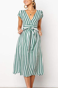 Maternity Deep V-Neck Stripe Casual Long Dress
