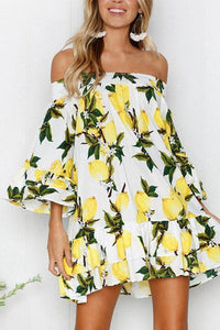 Casual Sexy  Off The Shoulder Boat Neck Horn Sleeve   Floral Print Mini Dresses