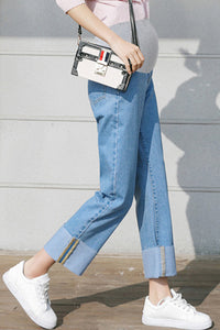 Fashion Loose Vintage Denim Wash Wide Leg Pants Maternity Jeans Pants