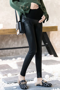 Pregnant Women High Waist Warm Leather Pants