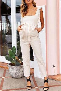 Maternity Solid Color Auricular-Trimmed Jumpsuit