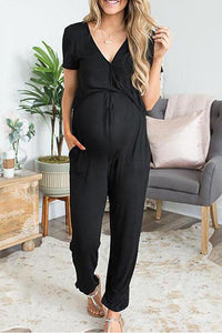 Maternity Plain V-Neck Casual Jumpsuit