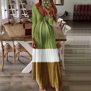 Maternity v-neck patchwork dress