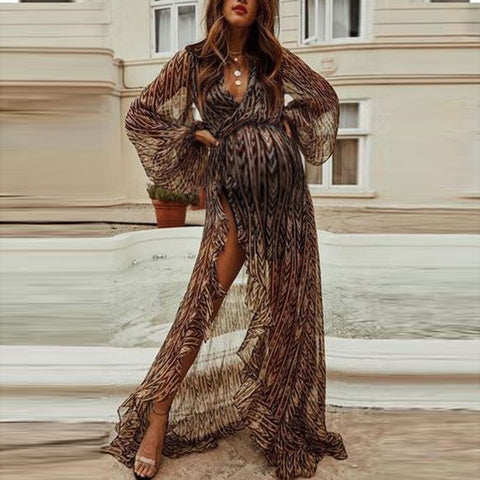 Maternity see-through wrap deep v ruffled high slit long dress