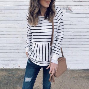 Matenrity Commuting Striped Long Sleeve T-Shirt
