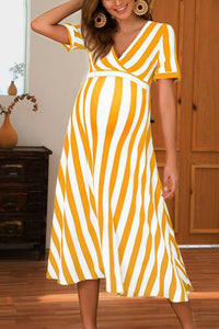 Maternity Sexy V-Collar Striped Short-Sleeved Dress