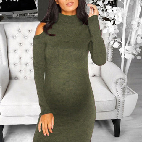 Maternity Casual Round Neck Long Sleeve Pure Color Loose Dress