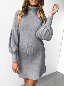 Maternity Casual High Collar Pure Sweater Dress