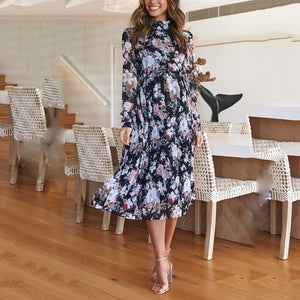 Maternity Long Sleeve Floral Dress