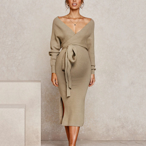 Maternity Fashion Deep V-neck Solid Color Belt Split Knit Dress