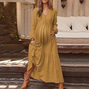 Women's Maternity Pure Color Bubble Sleeves Decorative Button Dress
