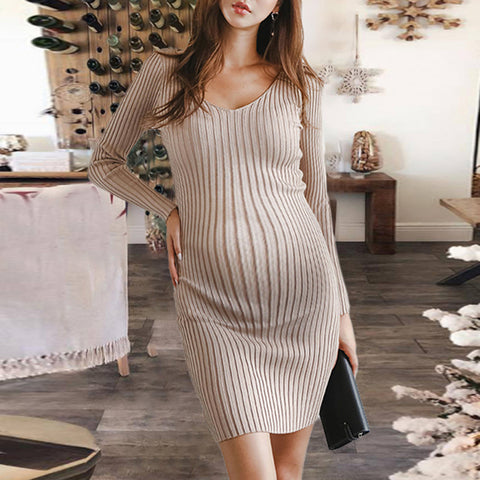 Sexy long sleeves deep v vertical striped knit dress