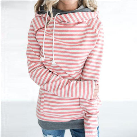 Simple casual striped stitching hooded Sweatshirt